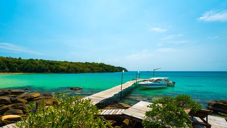 kood: Beautiful beach with speed boat at Koh Kood island, Thailand