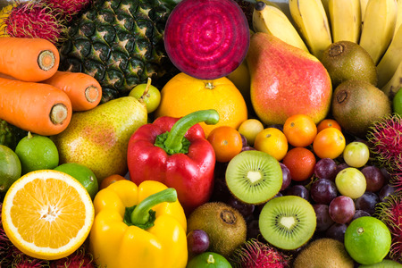 mixed vegetables: Group of fresh fruits and vegetables organics for healthy Stock Photo