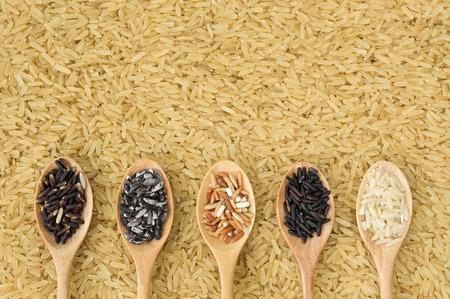 Collection de riz organiques de Thai pour une bonne santé Banque d'images - 43223701
