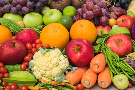 organics: Group of fresh vegetables and fruits  organics for healthy Stock Photo