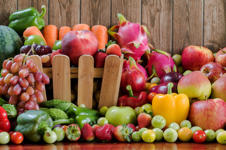 organics: Group of fresh vegetables and fruits organics for healthy