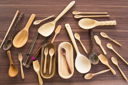 daily use item: Group of equipment  wooden utensil on the table