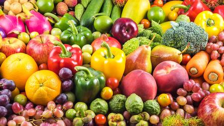 Nahrhaftes Obst und Gemüse für eine gesunde Bio- Standard-Bild - 44358216