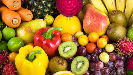 organics: Group of fresh fruits and vegetables organics for healthy Stock Photo