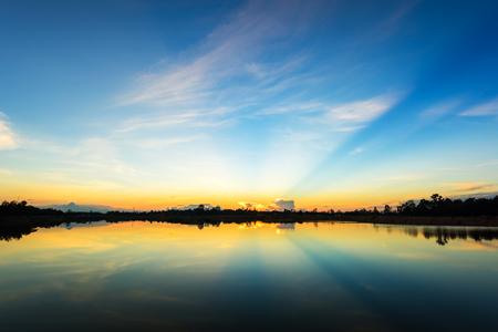 Sunset  at  the calm lake Stockfoto