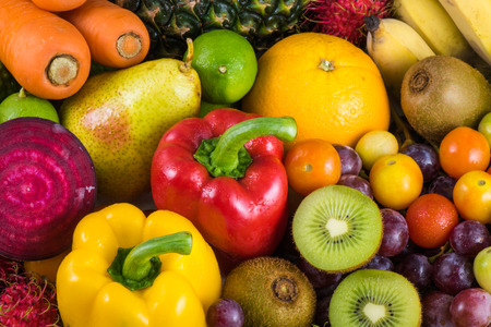 organics: Close-up group of fresh fruits organics for healthy