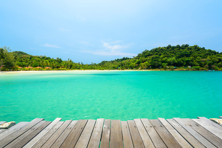 Wooden terrace with the beautiful beach at Koh Kood Island , Thailand Banco de Imagens