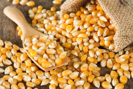 palomitas de maiz: Palomitas de ma�z sin procesar con la cuchara de madera y bolsa de arpillera Foto de archivo