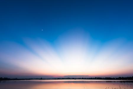 dramatic sunrise: Wonderful light after sunset over the lake