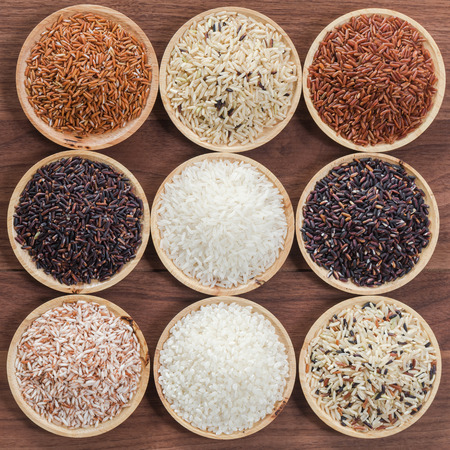 Collection of thais premium rice for healthy life style Stock Photo