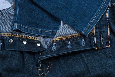 buttonhole: Close-up buttonhole jean fashion