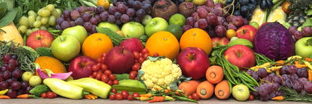 organics: Group of tropical fresh fruits and vegetables organics