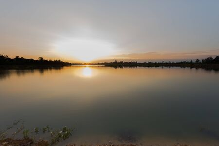 eventide: Sunset at the calm lake