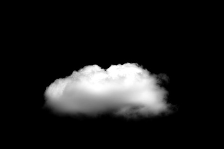 Beautiful Single white cloud isolated over black background