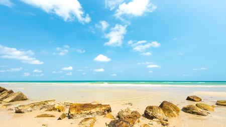 chang: Stone with beautiful sandy beach at Koh Chang Island , Thailand Stock Photo
