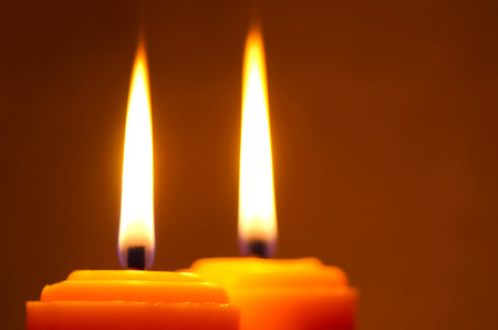 candle flame: Close-up two candle flame at night Stock Photo