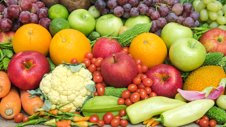 organics: Tropical fresh fruits and vegetables organics for healthy Stock Photo