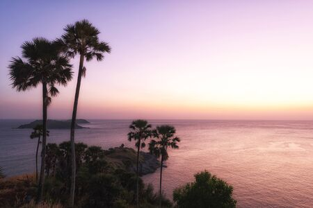 phuket province: Breathtaking sunset over the sea at Phromthep Cape, Phuket province ,Thailand