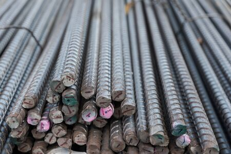Selective focus Steel bars at construction site