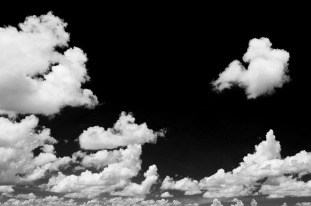 clouds background: White cloud on black background Stock Photo
