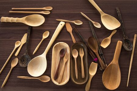 daily use item: Group of equipment wooden utensil on the table Stock Photo