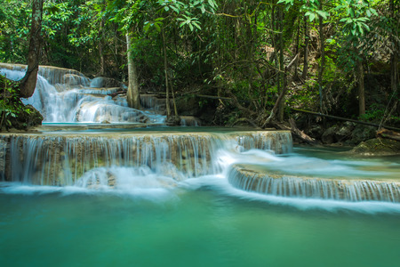 Beautiful and Breathtaking waterfall,Huay Mae Kamin, Located at the Kanchanaburi province, Thailand