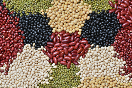 Five colour Lentils for background 免版税图像