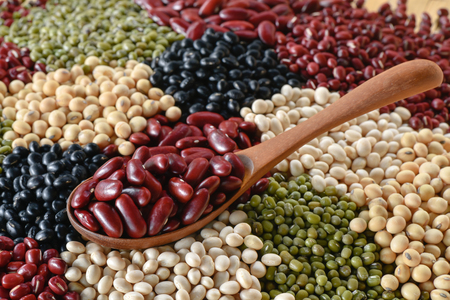 protein crops: Choose a red bean on wooden spoon on multicolor lentins background