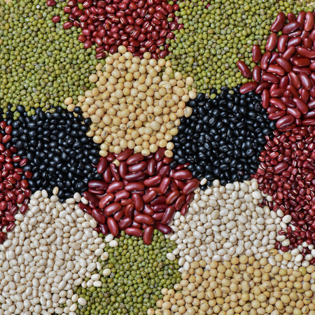 kidney bean: Top view five color lentils for background Stock Photo