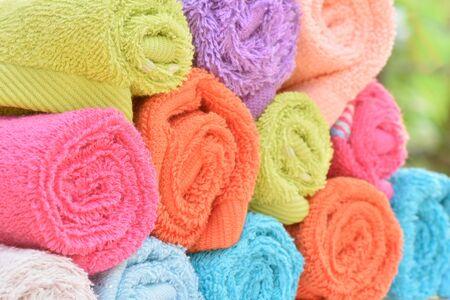 carpet clean: Closeup multicolor towels