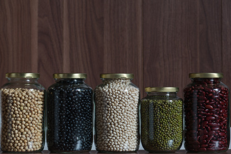 aduki bean: Five legumes in a glass jar