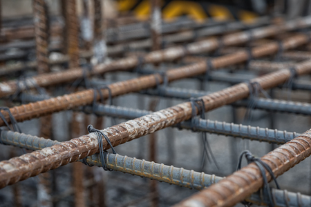 cross ties: Selective focus steel tied at construction site Stock Photo