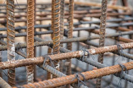 reinforce: Steel rods used to reinforce concrete Stock Photo