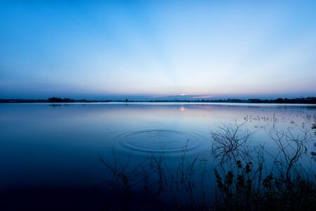 lake sunset: Tranquil  Blue lake  with sunset