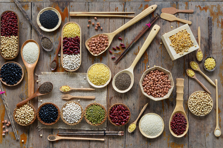 pinto bean: Various dried legumes for background Stock Photo
