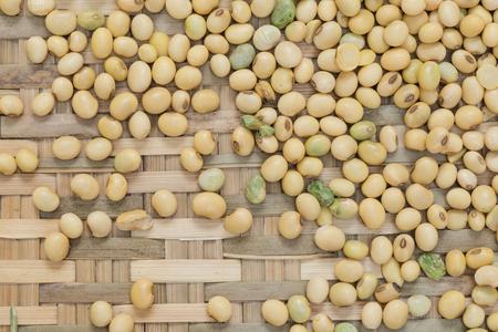 soya bean: Soya bean organic on bamboo woven for background