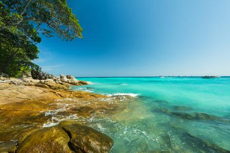 greeen: Beautiful Stone beach at Tacai Island,Thailand Stock Photo