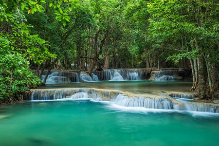 mea: Green landscape with beautiful waterfall, Hauy Mea Kamin waterfall, Located Kanchanaburi province ,Thailand