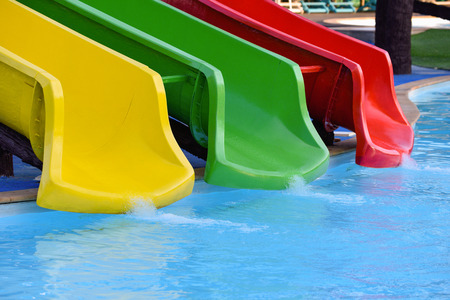 wide  wet: End of slider in swimming pool