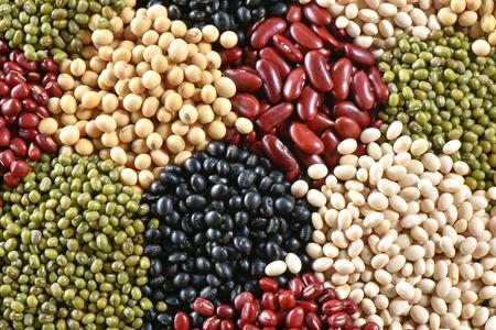 leguminosas: Varios colores secos legumbres habas para el fondo Foto de archivo