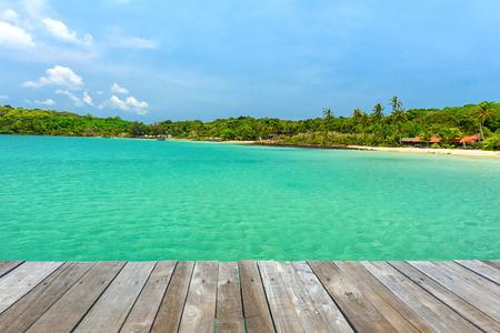 berth: Green landscape with wonderful seaside and wooden bridge, Located Koh Kood Island , Thailand Stock Photo