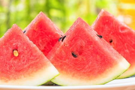 serve: Closeup watermelon slice, Watermelon slice for serve