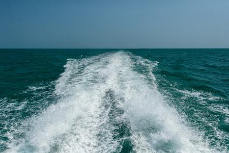 vast: The vast sea, Water splash  behind speed boat, Acting wave behind motor boat at the vast ocean