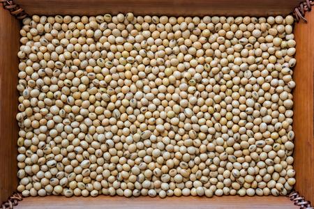 soya bean: Soybean seed , Soya bean organic on bamboo  frame background