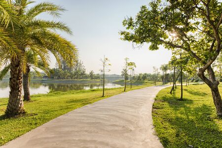 jogging track: Landscape with jogging track at green park and no people Stock Photo