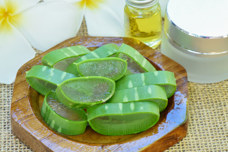 Aloe vera use in spa for skin care and cosmetic Stock Photo