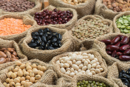 legumes: Different dried legumes in a sackcloth