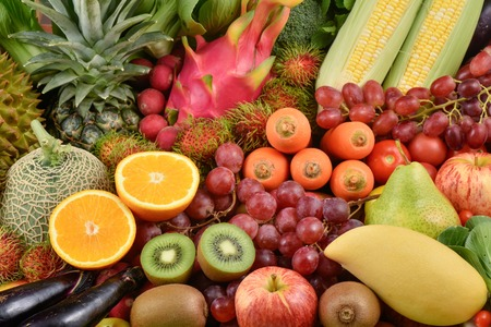 Nutritious Tropical Fruits and various vegetables for healthy