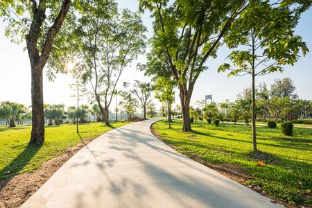 朝に緑の公園でジョギング コースのある風景します。