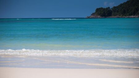 Closeup water splash at tropical sea, Selective focus shallow dept of field